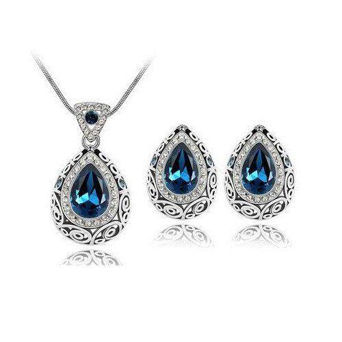 Vintage Style Jewellery Set-Sapphire Blue Genuine Australian Crystal Necklace & Earr – UCHARMME.co.nz