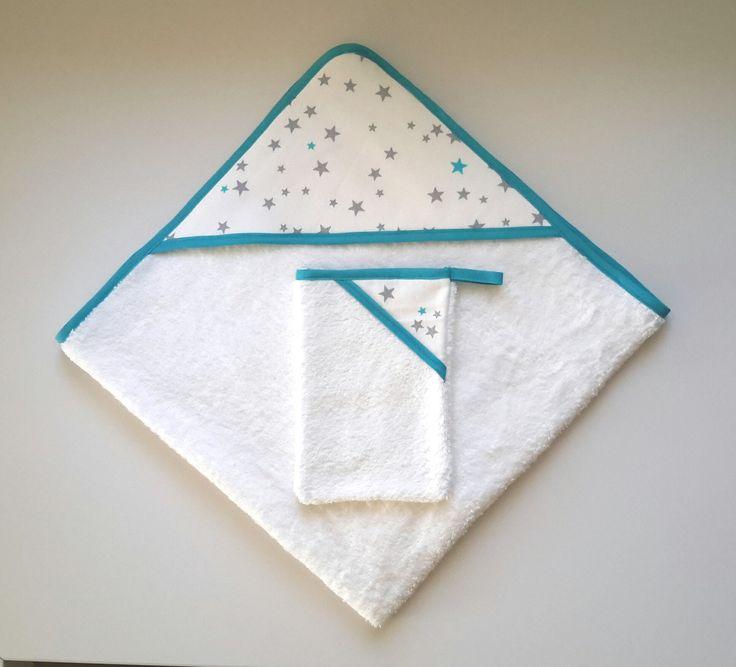 Ensemble cape de bain et gant de toilette personnalisé pour bébé T.0-6 mois blanc, gris et bleu turquoise à étoiles : Mode Bébé par nana-et-nono-by-c-g