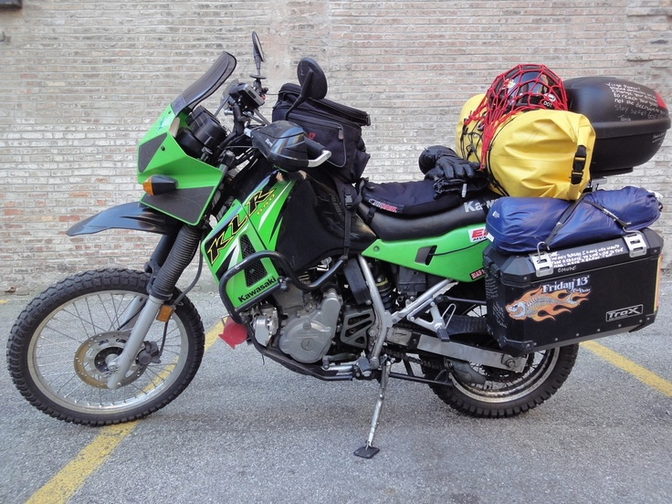 Rebecca in Chicago on the way to Trinidad. She's a 2007 KLR 650 -- fully farkled.