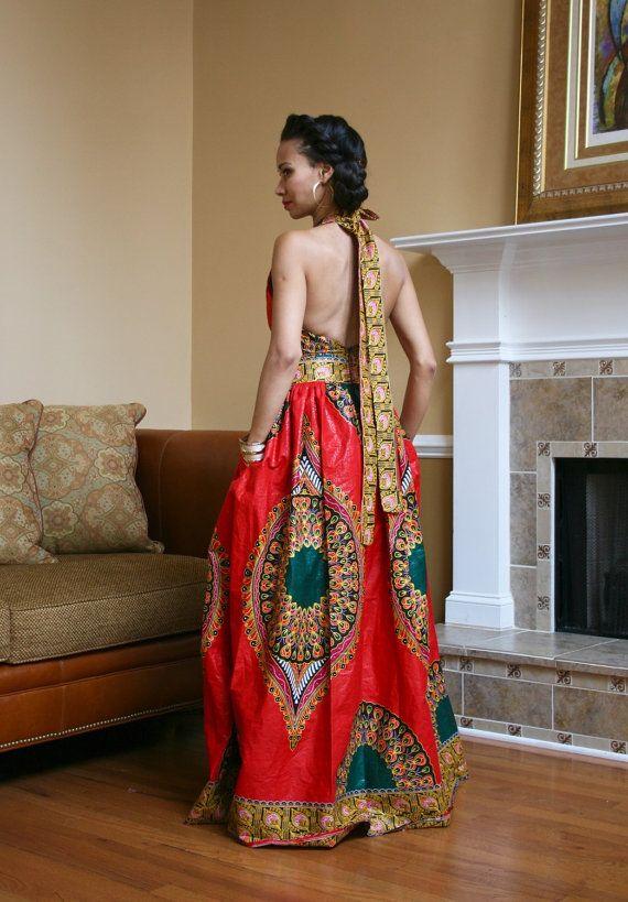 African Print Halter Top Maxi Dress by MelangeMode on Etsy