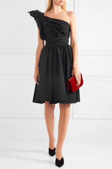 Prada | One-shoulder bow-embellished silk-faille dress | NET-A-PORTER.COM