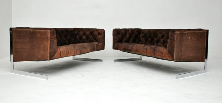 Milo Baughman Cantilever settees - in brown suede
