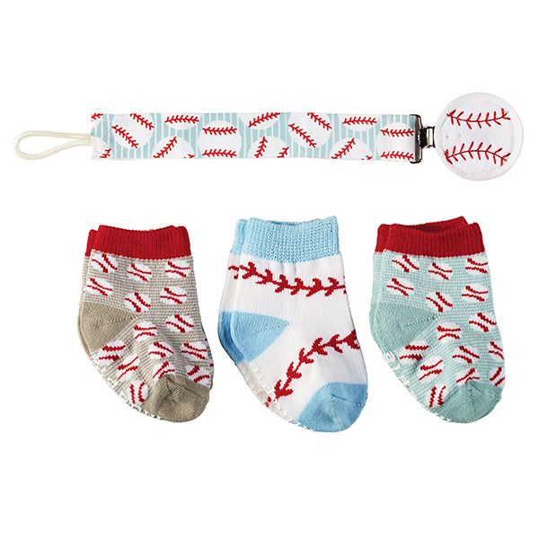 These socks & pacifier clip make a wonderful gift for baseball-loving parents! | Baseball Socks and Pacifier Clip Set (4 Piece Set)