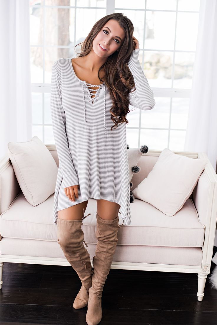 Sunset Lover Striped Lace Up Shift Dress (Heather Grey) ~ $41.00 at nanamacs.com