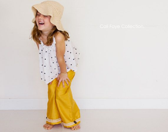 Wide Leg Pant PDF pattern and tutorial - size 2t - 10 childrens sewing PATTERN - Instant download // Ah! Too cute! Little lady wide legs!