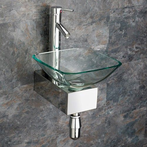Square Ferrara 31cm Wall Mount Clear Glass Sink With Metal Mounting Stand  Tap   Www.