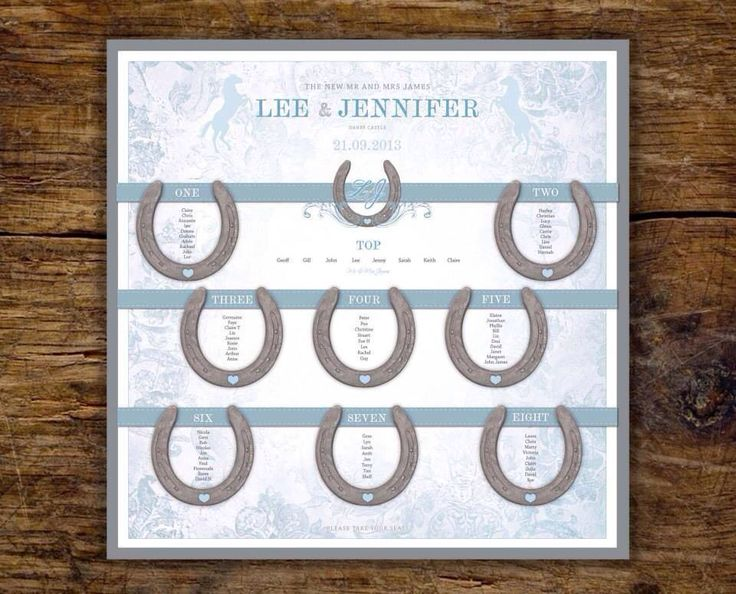 Horse lovers wedding seating / table plan. Horseshoe equestrian theme wedding. Jill@hopeyoucanmakeit.co.uk