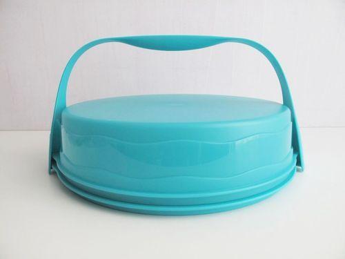 TUPPERWARE Junge Welle Kuchenform rund+ Griff Türkis Kuchen Form Tortenbehälter | eBay