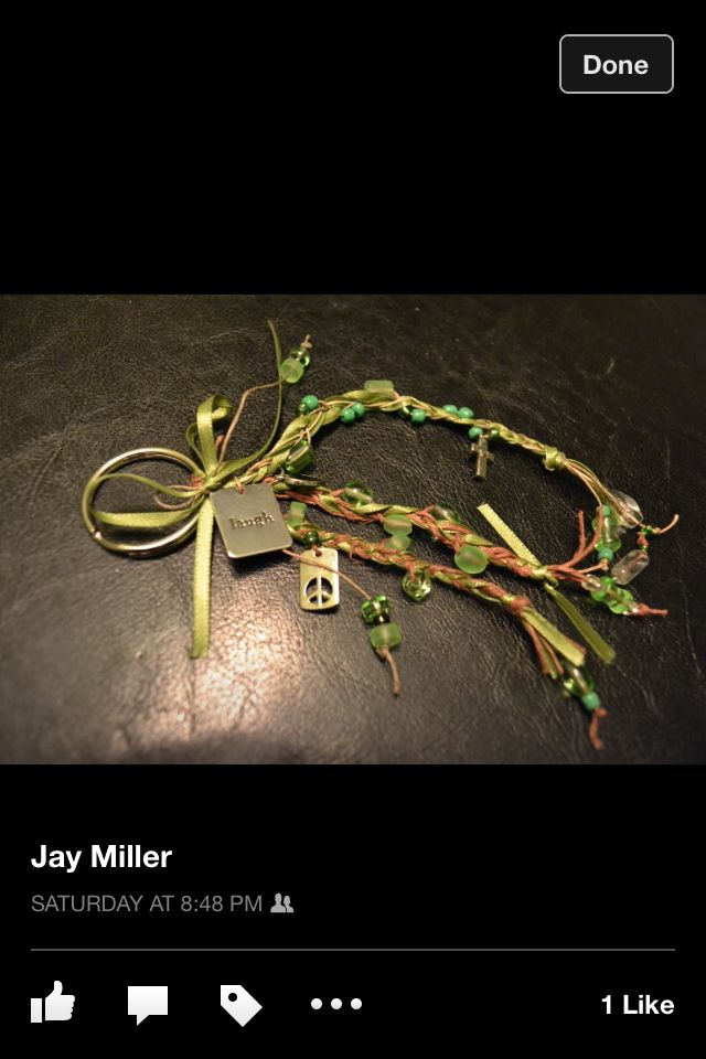 Green ribbon brown hemp green beds and charm key chain