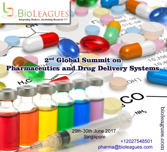"""BioLEAGUES is pleased to invite all the participants across the globe to attend the 2nd Global Summit on Pharmaceutics and Drug Delivery Systems which will be held on 29th-30th , June 2017 at Singapore and the theme of the conference is """"Impact of Pharmaceutical sciences, now and future FOR MORE DETAILS: https://goo.gl/WwxYQs #pharmacology #pharmacognosy #neuropharmacology  #psychopharmacology #clinical_pharmacology_therapeutics"""