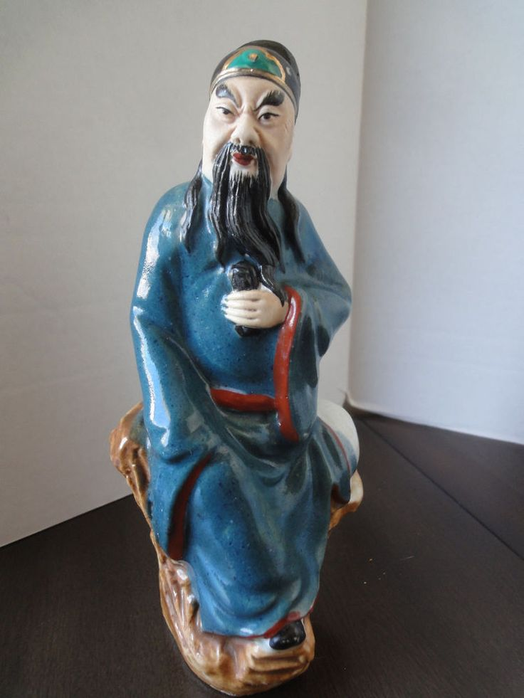 """Hand Painted Chinese/Oriental Porcelain Signed Statue of Wise Old Man  8"""" High"""