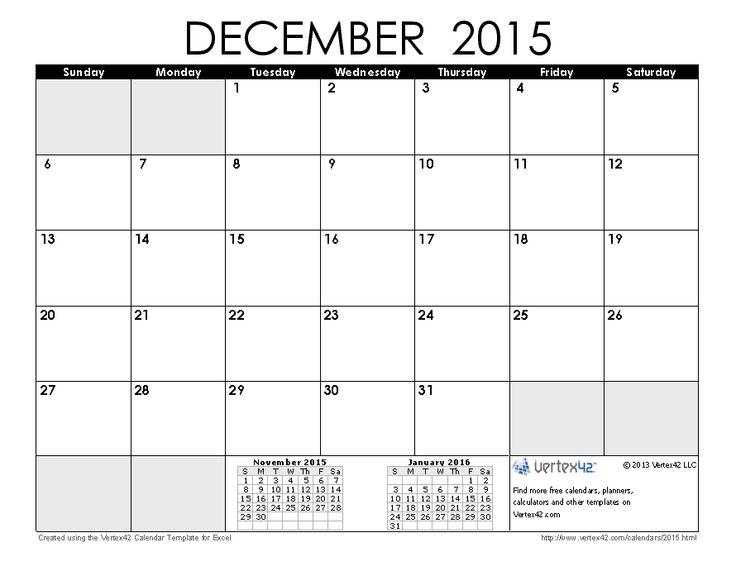 Download a free December 2015 Calendar from Vertex42.com
