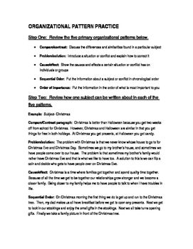 Organizational Patterns Examples And Writing Activity Writing