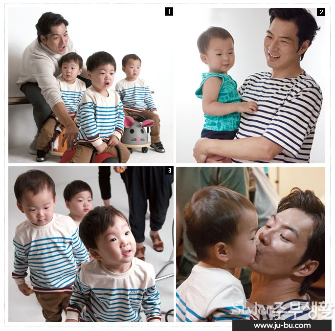 "2014.09, Styler Jubu Lifestyle. Song Il Kook with his triplets: Daehan, Minguk, and Mansae on ""Return to Superman"""