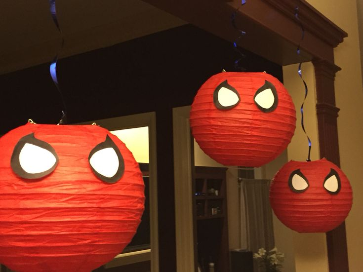 DIY Spiderman paper lanterns
