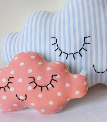 Cute embroidered detail for 'Clouds' cushions  {need to crochet some clouds}