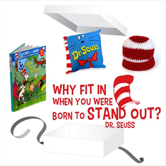 Dr Seuss Gift Box - White Gift Box with Dr Seuss Wall Decal, Pillow, Beanie and Book.