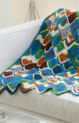 Tunisian Mitered Throw Crochet Pattern | Red Heart