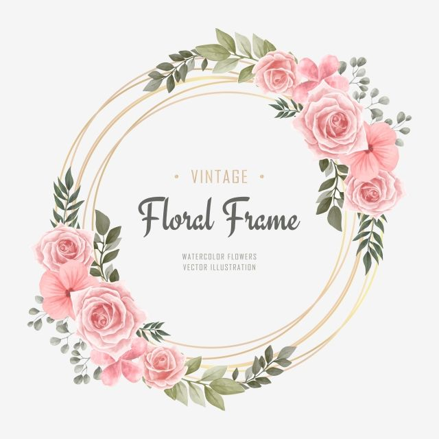 Vintage Wedding Watercolor Flower Frame Background Pattern