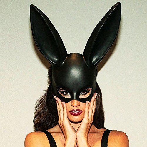 Adorox Sexy Bondage Masquerade Bunny Rabbit Mask Adult Halloween Costume Accessory (Black)