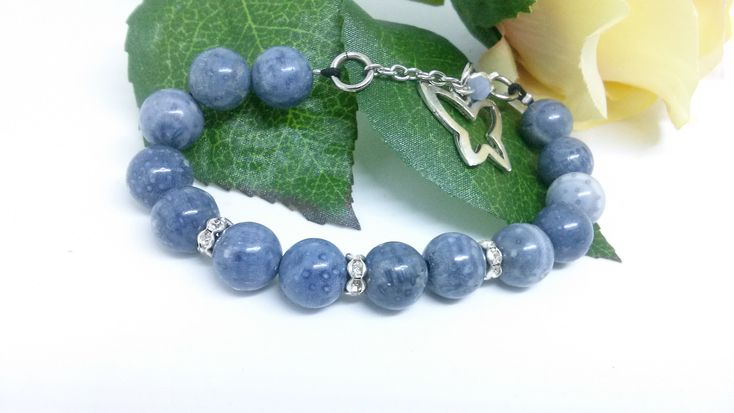 Excited to share the latest addition to my #etsy shop: Lovely set of blue coral and strass rodelles, gemstone bracelet, blue coral necklace https://etsy.me/2qDOPRD #jewelry #coral #kallysartistry