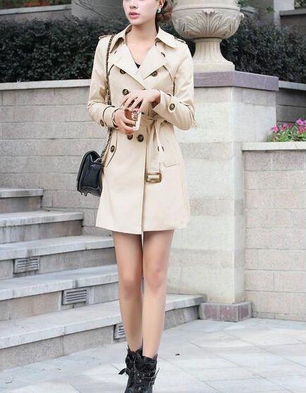 Giacca trench spolverino donna colore beige cachi  cod 1046