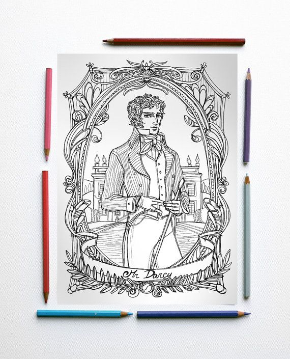 coloring page pdf jane austen pride and prejudice mr darcy and pemberley in