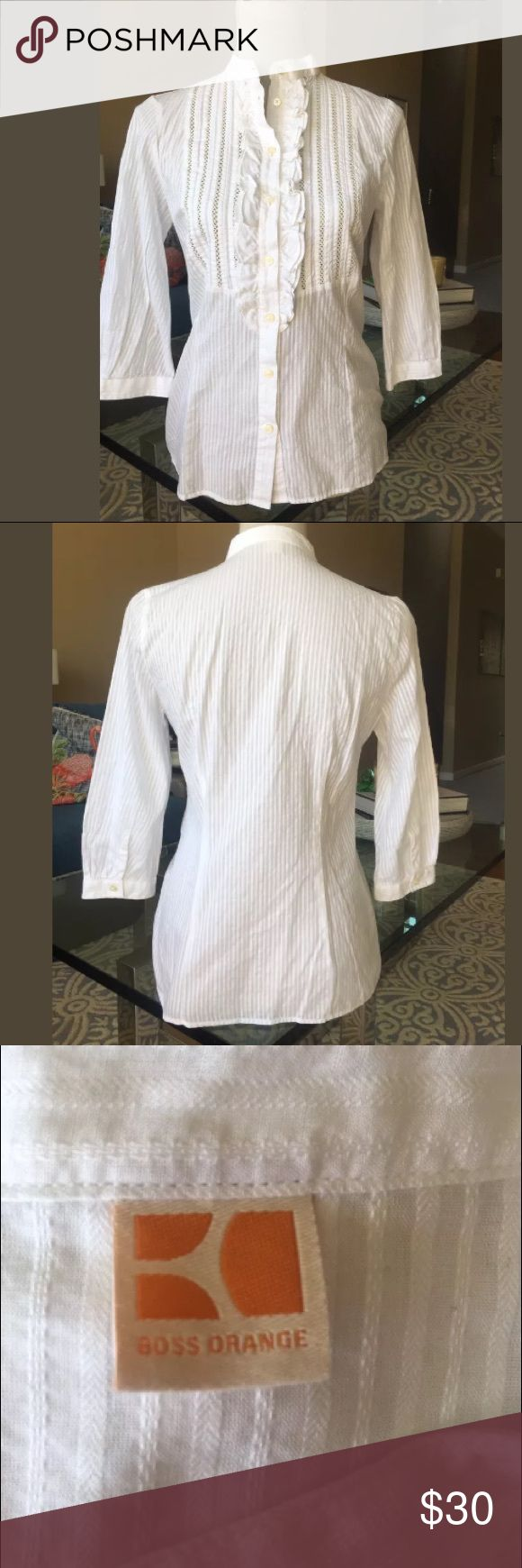 "Hugo Boss Orange 3/4 sleeve Blouse Shirt Perfect S Hugo Boss Orange 3/4 sleeve Blouse Shirt top. White. 100% Cotton.Button down front,  Length--25""  Bust unstretched----18  measurements taken from side to side  Small  Perfect, like new, no defects. BOSS ORANGE Tops Blouses"