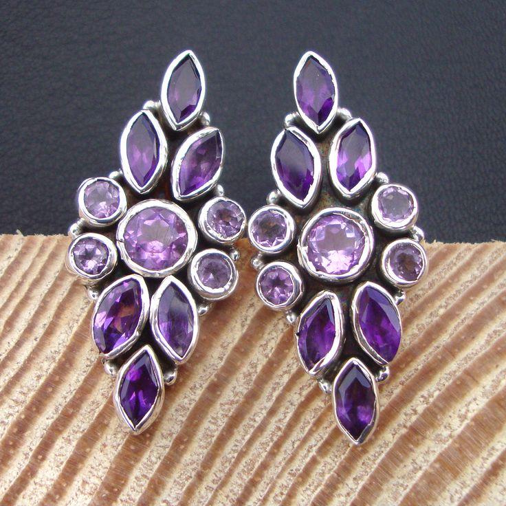 925#Sterling#Silver#Brazil#Amethyst#Natural#Gemstone#Beautiful#Stud#Earring#Women#Free#Shipping  http://www.ebay.com/itm/925-Sterling-Silver-Brazil-Amethyst-Natural-Gemstone-Beautiful-Stud-Earring-/112518639633?ssPageName=STRK:MESE:IT