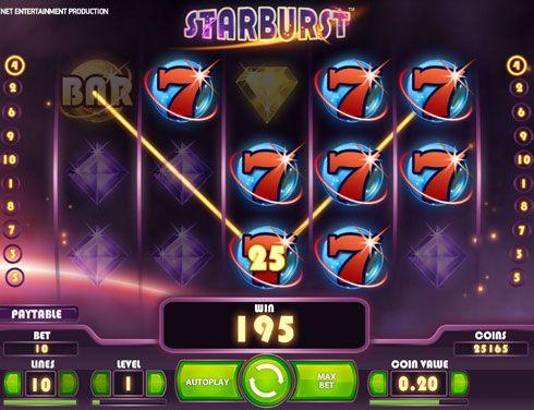 Казино Вулкан играть на реальные деньги в слот Starburst.  Игровой автомат Starburst на реальные деньги заинтересует игроков казино Вулкан, которым по душе драгоценные камни. В данном автомате насчитывается пять крутых барабанов, десять победных линий.