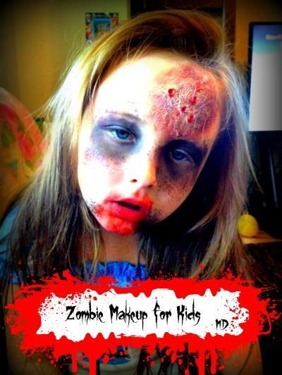DIY Zombie Makeup for Kids! Turn your little prince or princess into a brain eating zombie using Toilet Paper and glue! Click to find out how! #Halloween #Zombie #Makeup