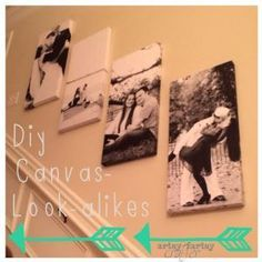 foam board + $4 engineer print pictures + adhesive spray = CHEAP canvas look a likes!!