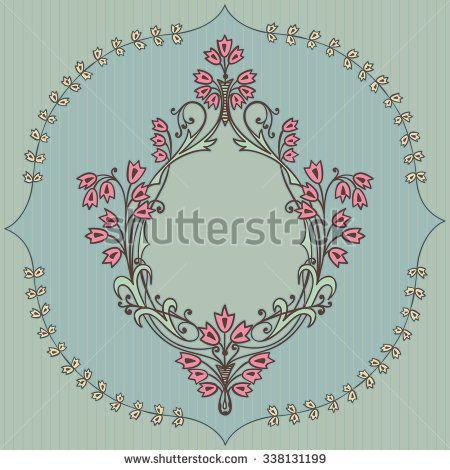 Frame with cute flowers. Vector doodle cartoon - stock vector