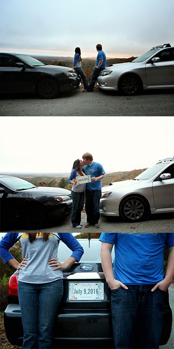Car enthusiast Engagement Shoot in the mountains #Subaru photos by Abby Stancil Photography
