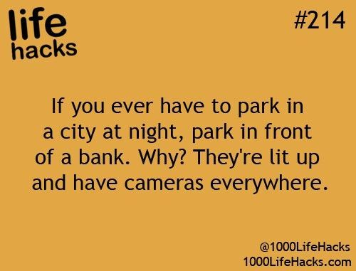 life hack #214: I would say sketchy place rather just at night ehh