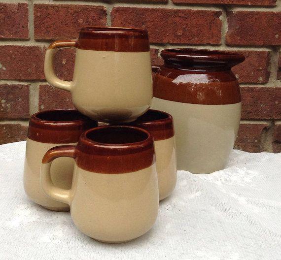 Brown Pottery Mug Set Vintage Mugs Brown Mug by PinkHenStudio