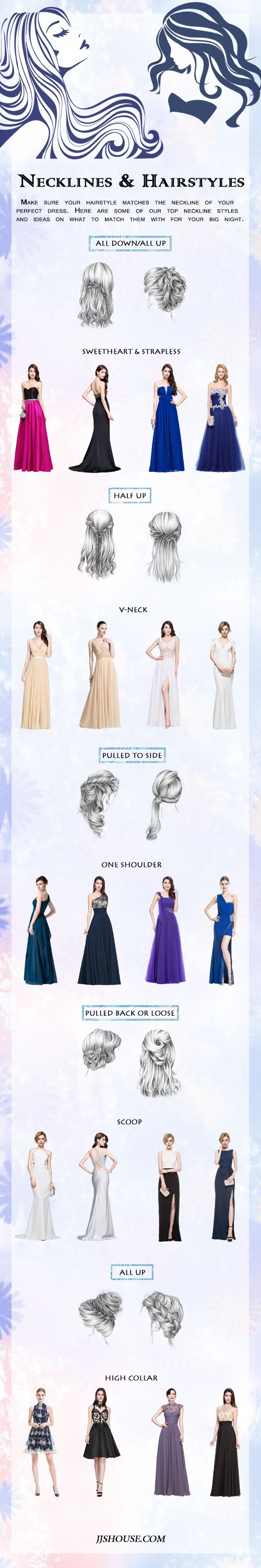 [Necklines & Hairstyles] Make sure your hairstyle matches the neckline of your perfect derss. Here are some of our top neckline styles and ideas on what to match them with for your big night. #JJsHouse