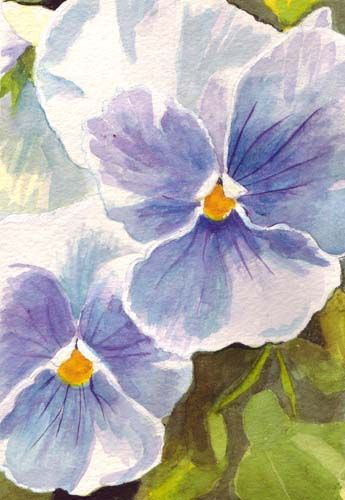 Bunny's Artwork: Pansies Watercolor Painting