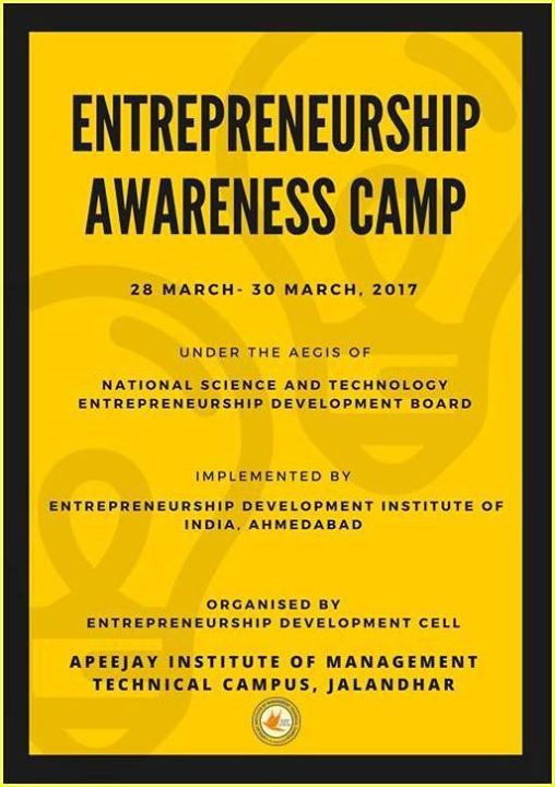#AIMTC is organising a three day Entrepreneurship Awareness Camp from March 28 to March 302017 under the aegis of National Science and Technology Entrepreneurship Development BoardDepartment of Science and Technology Government of India and Implemented by EDI Ahmedabad. The students from any stream of #graduation from any college/university are eligible to attend this #free camp.They will be given a certificate for the same. There will be Lectures by expert people from Industry and Academia…