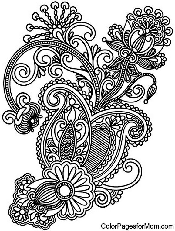 free paisley adult coloring pages - photo#13