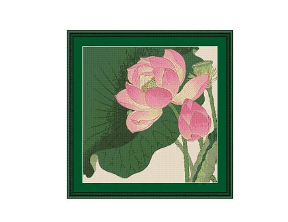 Ohara Koson (Shoson), Flowering Lotus, Counted Cross Stitch Pattern / Chart, Instant Digital Download  (ABJ012)