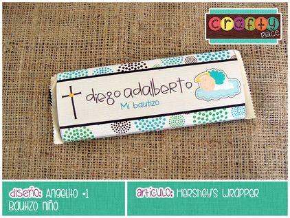 Wrapper para chocolate de Angelito - Bautizo niño… Podemos personalizarla con cualquier tema! • Angel chocolate wrapper - Boy Baptism... We can personalize it with any party theme!
