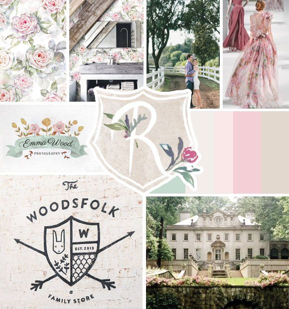 Country manor moodboard, muted color palette, pink, green, fawn color scheme, rustic charm, hand-drawn, crest logo, watercolor