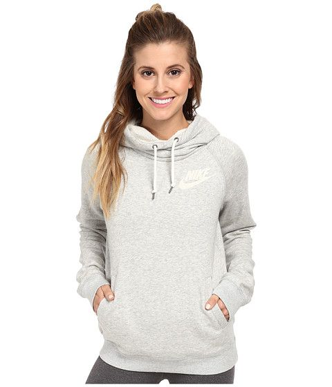Nike Rally Funnel Neck Hoodie Grey Heather/Sail - Zappos.com Free Shipping BOTH Ways