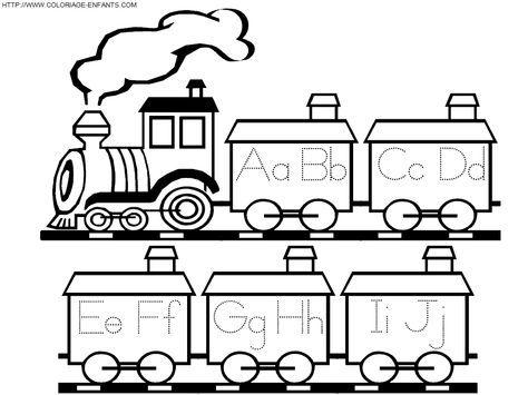 Dibujos para Pintar y Colorear Gratis – Un Tren con vagones y letras