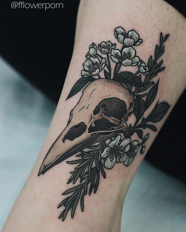 Skull floral tattoo {witchy}