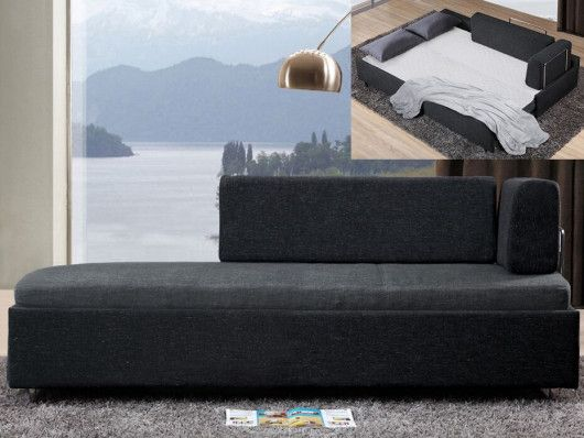 Meridienne Convertible Oneiros En Tissu Bicolore Gris Anthracite En 2020 Meridienne Convertible Decoration Interieure Et Canape Convertible Design