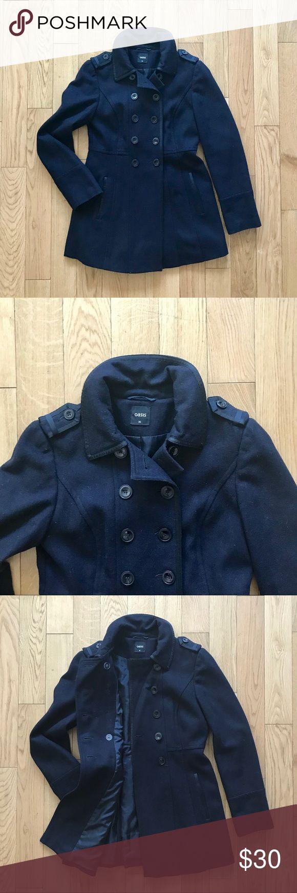 Oasis Black Double Breasted Pea Coat Wool Fits S Oasis double breasted wool winter pea coat. Black women's size XS, but it fits me and I'm normally a small. Flattering flare style. Lined. Trendy details. Great condition! Oasis Jackets & Coats Pea Coats