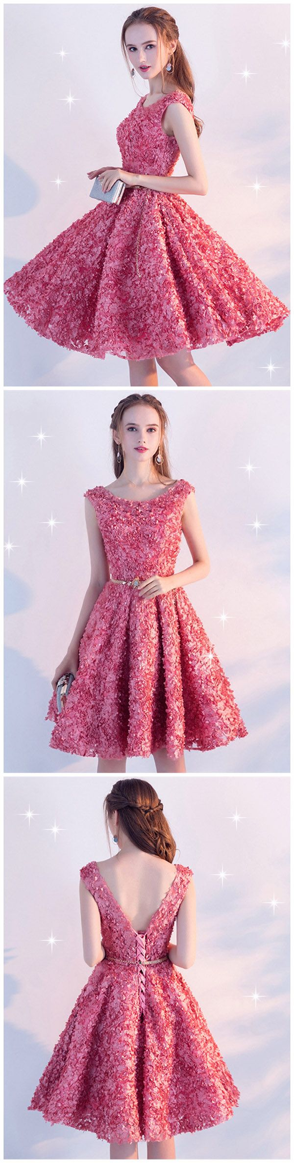It's back to school season.A-Line Sashes Cap Sleeves Crystal Knee-Length Homecoming Dress. [Material:Lace; Clean:Dry Clean Only; Body Shape:All Sizes; Silhouette:A-Line; Hemline:Knee-Length; Neckline:Scoop; Sleeve Length:Cap Sleeves; Waist:Natural; Back Details:Lace-Up; Embellishments:Flowers,Sashes/Ribbons]