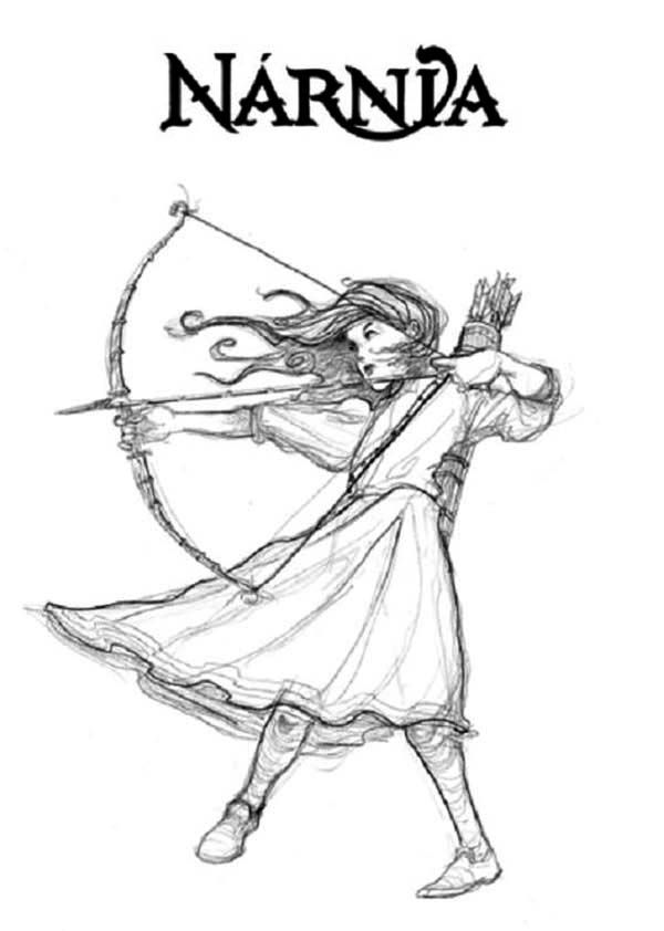 Chronicles Of Narnia Susan Pevensie With Arrow Coloring Page